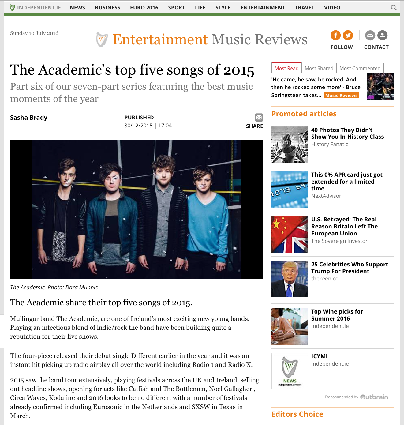 Independent.ie 10th July 2016